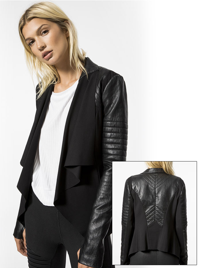 High Performance Moto Style by Blanc Noir at Carbon38 - Drape Front Jacket