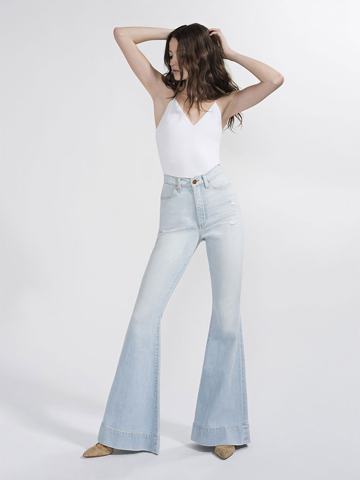The New AO.LA Jeans by Alice + Olivia - Beautiful High Rise Bell in Space Oddity