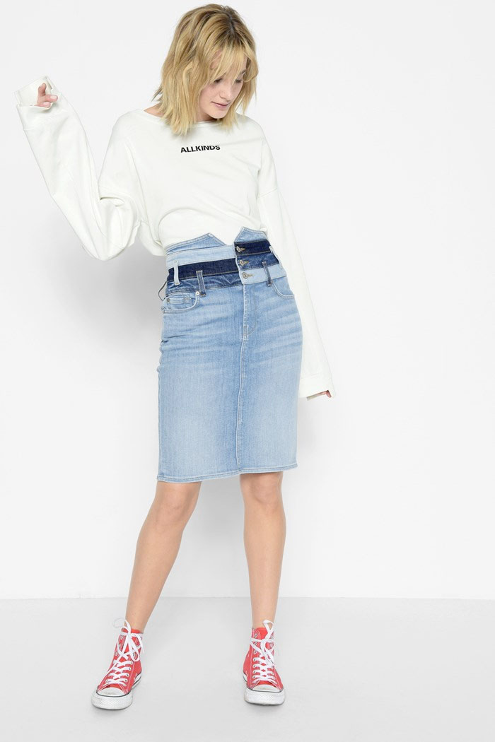 New Patchwork Denim Designs from 7 For All Mankind - Skirt