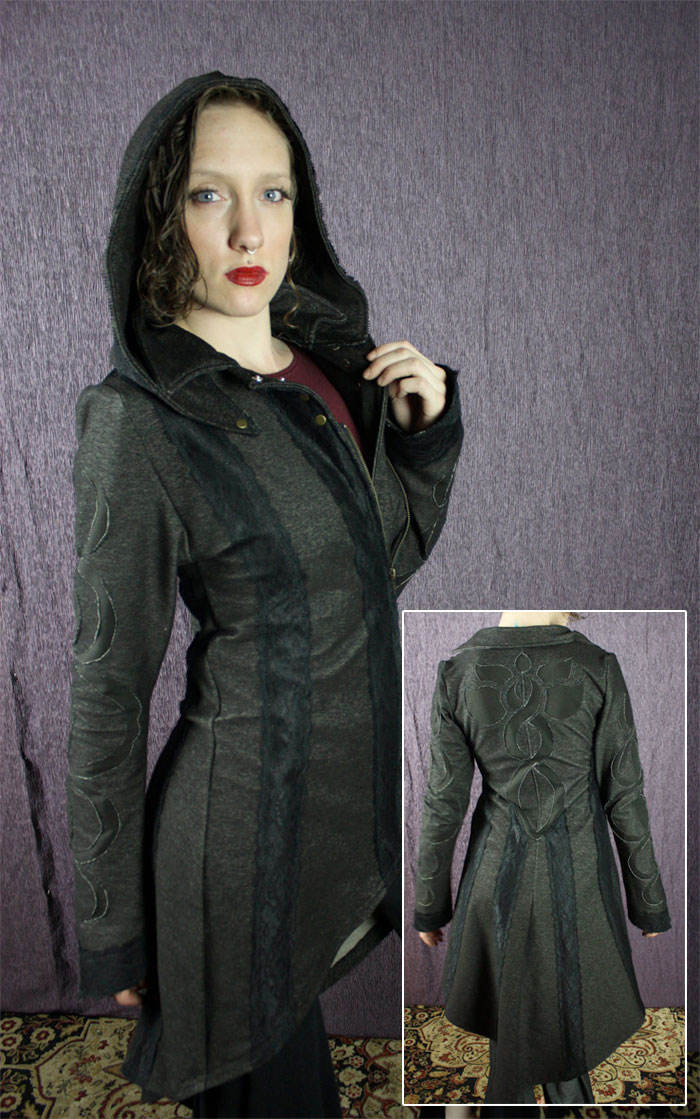 Organic Handmade Denim Jackets by Kinetic Couture - Helix Infinity Lotus Trench Coat with Detachable Hood