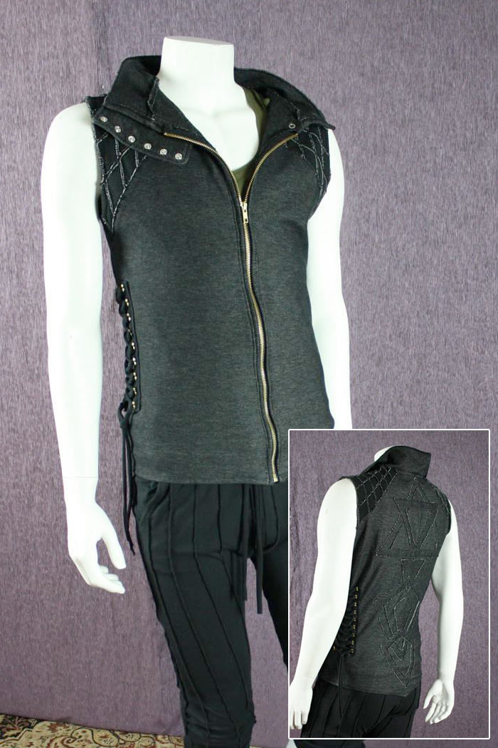 Organic Handmade Denim Jackets by Kinetic Couture - Mens Dance Vest in Organic Black Stretch Denim w/ Adjustable Lacing