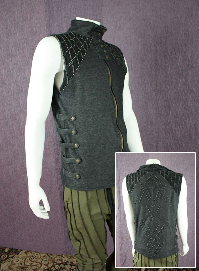 Organic Handmade Denim Jackets by Kinetic Couture - lack Stretch Denim Mens Dance Vest