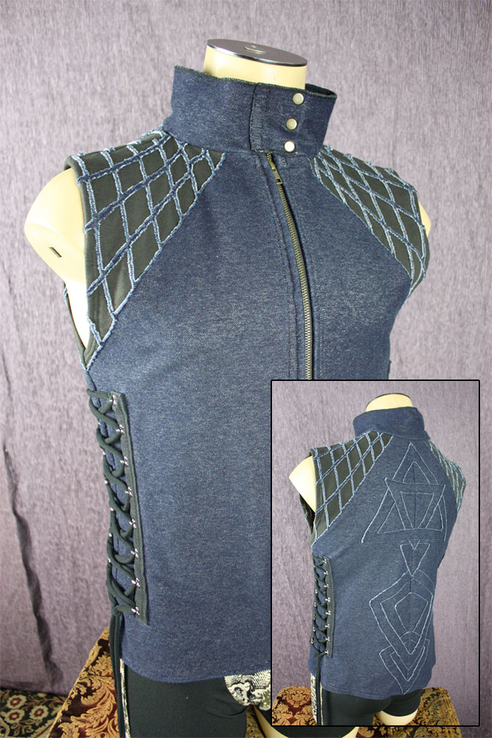 Organic Handmade Denim Jackets by Kinetic Couture - Mens Dance Vest in Organic Blue Stretch Denim