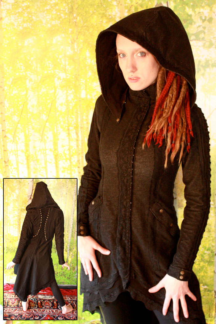 Organic Handmade Denim Jackets by Kinetic Couture - The Dark Maidens Corseted Winter Coat