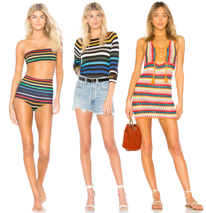 Chic Rainbow Pieces to Welcome Summer from Revolve - Bikini, long sleeve tee and crochet dress