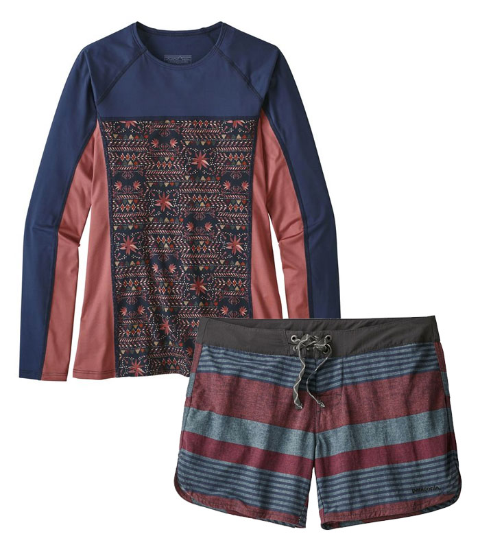 Sustainable and Fair Trade Swimwear from Patagonia Surf - Micro Swell Rashguard and Wavefarer Shorts