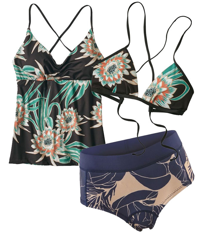 Sustainable and Fair Trade Swimwear from Patagonia Surf - Kupala Tankini, Top, and R1 Lite Yulex Shorts