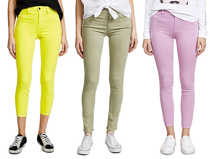 New Colored Jeans to Brighten Up Your Summer Wardrobe - Greens and Pink