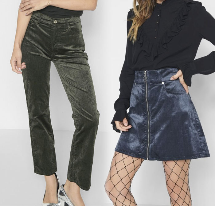 New Velvet Pieces for Fall from 7 For All Mankind - Pant and Skirt