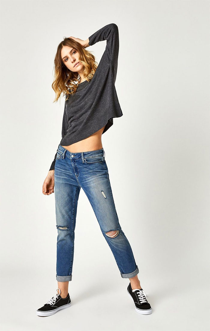 New Stylish and Soft Fall Denim Arrivals from Mavi - Ada Boyfriend in Mid Shaded 80s Vintage