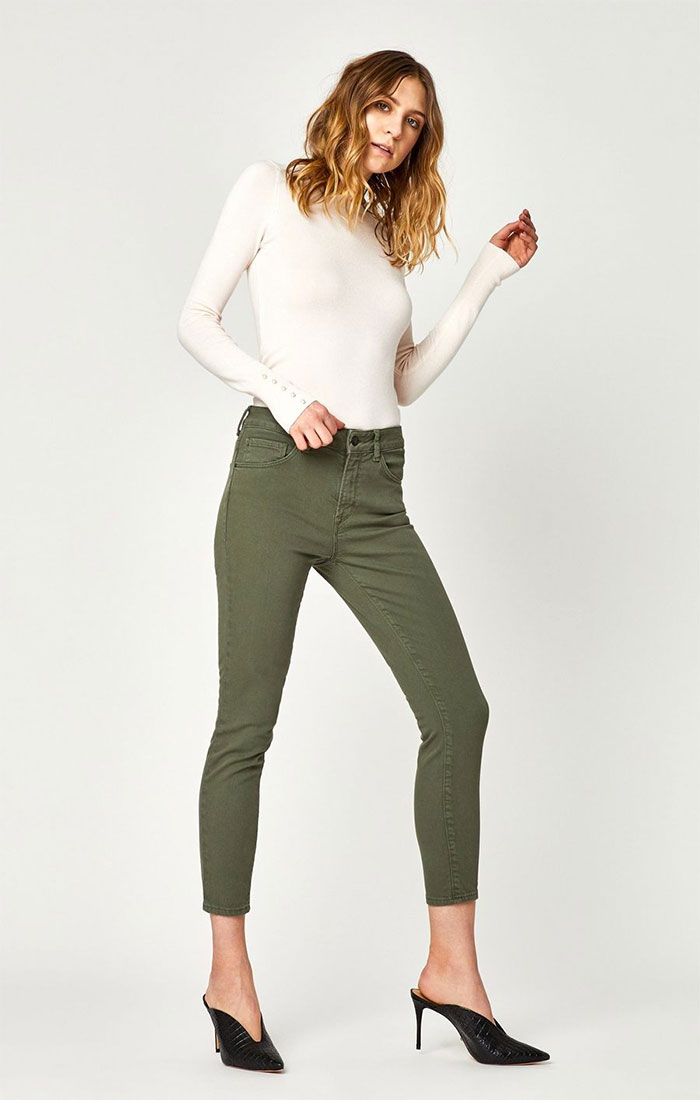 New Stylish and Soft Fall Denim Arrivals from Mavi - Adriana Skinny in Dusky Green Twill