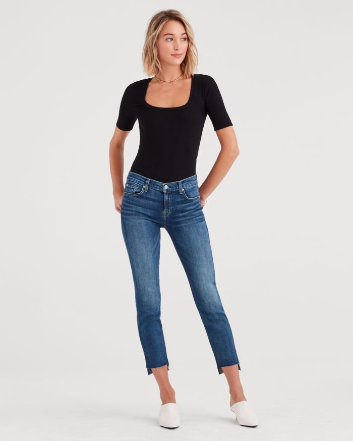7 For All Mankind Releases Lightweight Vintage Style with b(air) Authentic - Roxanne Ankle with Step Hem in Authentic Luck