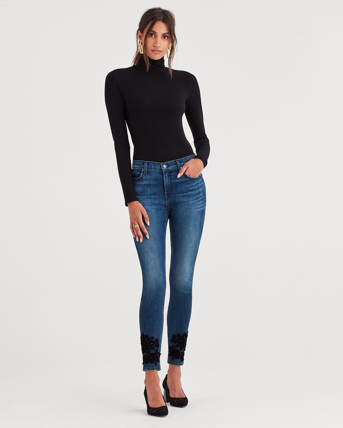 7 For All Mankind Releases Lightweight Vintage Style with b(air) Authentic - High Waist Ankle Skinny with Lace Applique around Hem in Black