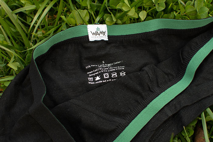 Eco Friendly Women's Hemp Hipsters from WAMA Underwear - Tag Closeup