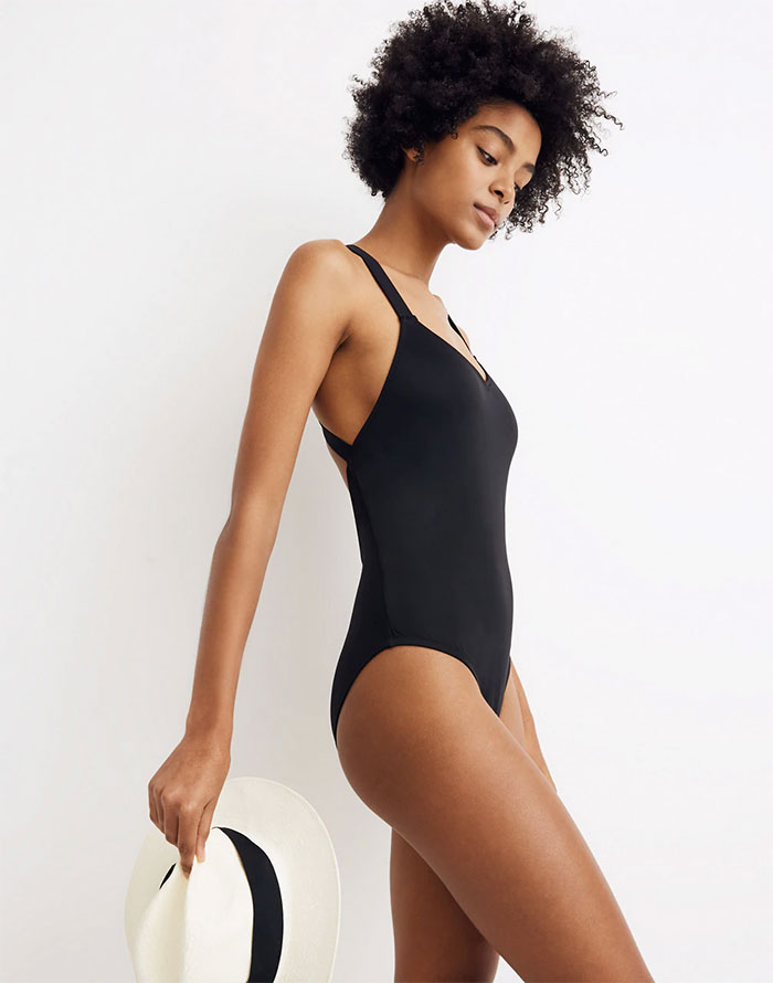 Eco Friendly Swimwear for All Sizes from Madewell Second Wave - Crisscross One Piece in Black