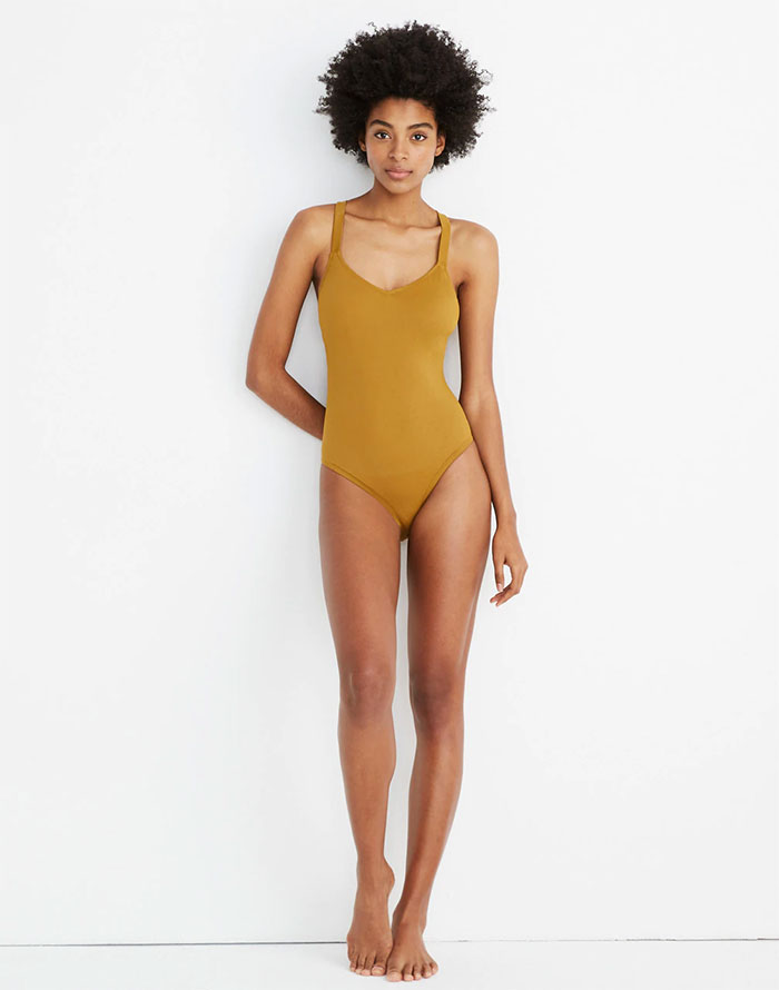 Eco Friendly Swimwear for All Sizes from Madewell Second Wave - Crisscross One Piece in Distant Olive
