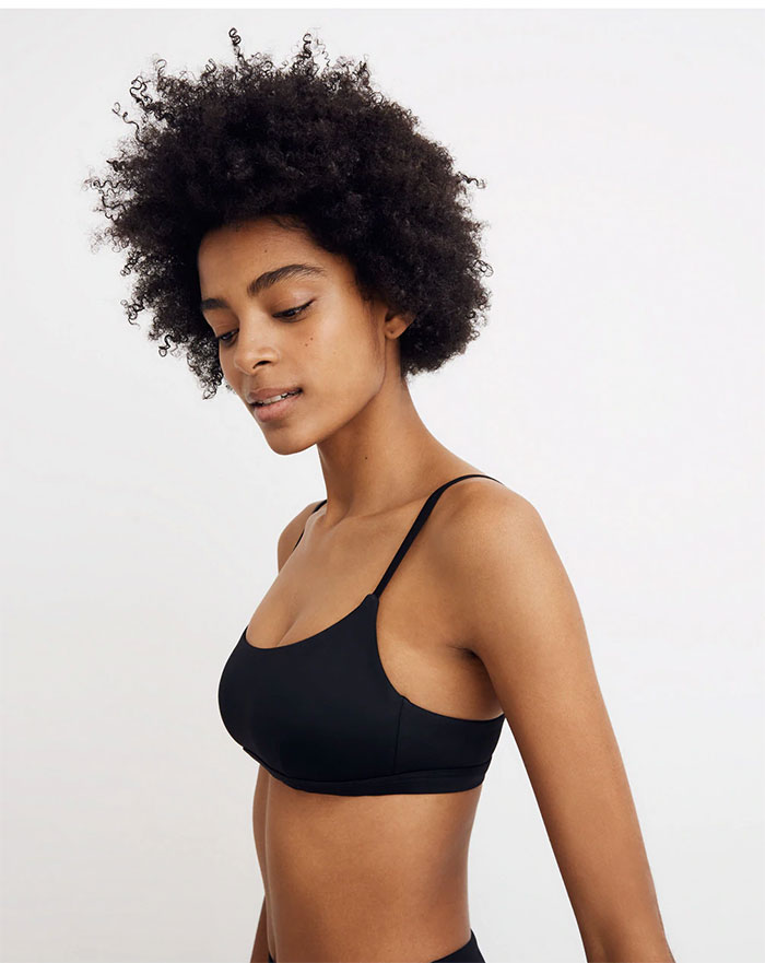 Eco Friendly Swimwear for All Sizes from Madewell Second Wave - Sport Bikini Top in Black