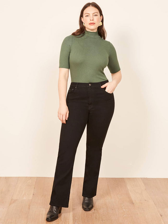 Stylish Sustainable Denim and More from Reformation - Candace Boot Plus Size Jean