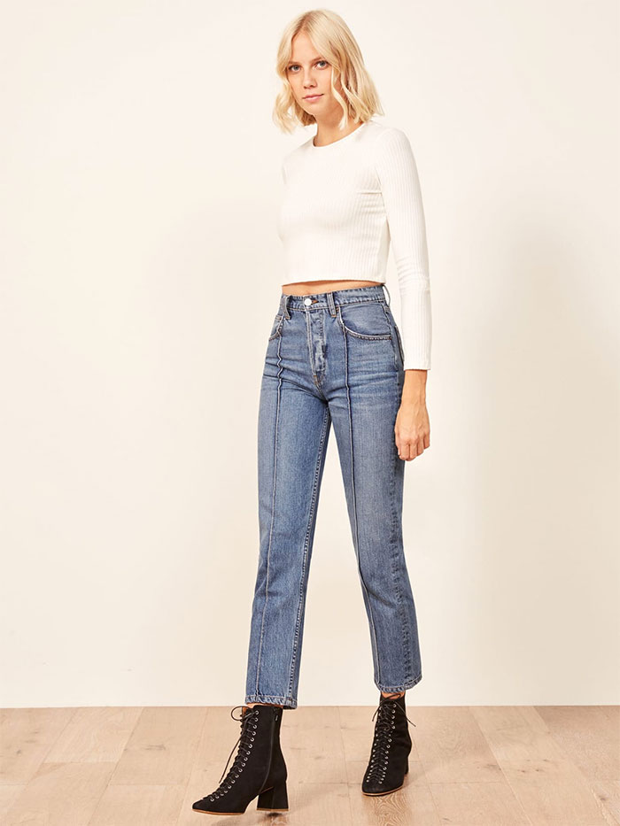 Stylish Sustainable Denim and More from Reformation - Cynthia High Pintuck Jean