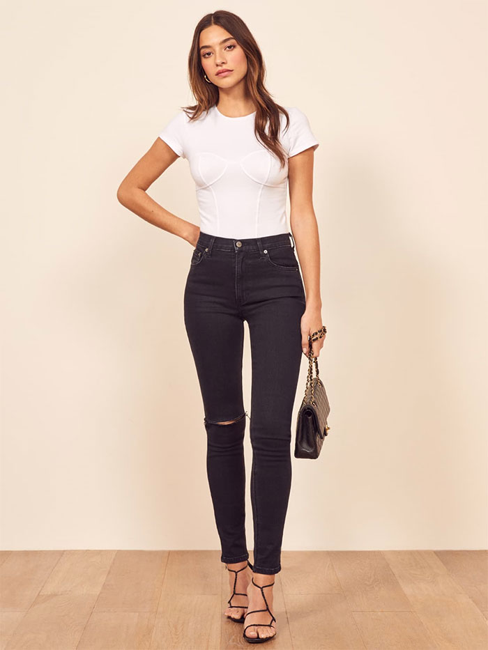 Stylish Sustainable Denim and More from Reformation - High Skinny Jean in Black