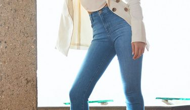 New Eco Sustainable Denim Styles from J BRAND - Alana High-Rise Cropped Super Skinny In True Love Destruct
