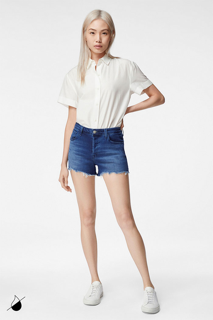New Eco Sustainable Denim Styles from J BRAND - Gracie High Rise Short in Galaxy