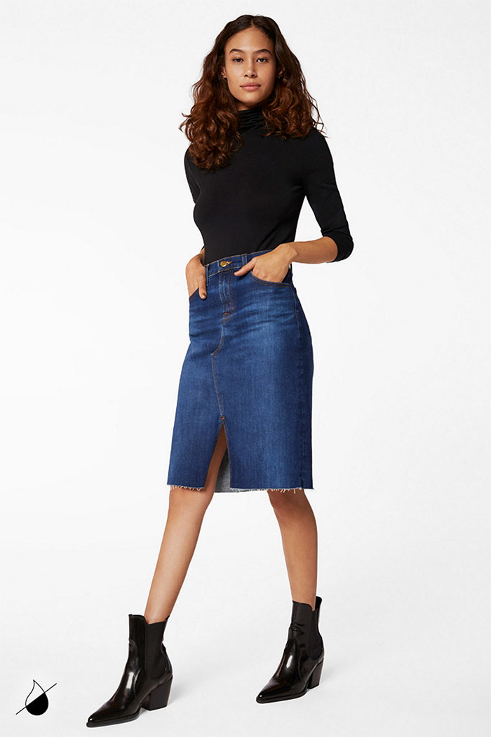 New Eco Sustainable Denim Styles from J BRAND - Trystan Skirt in Arcade