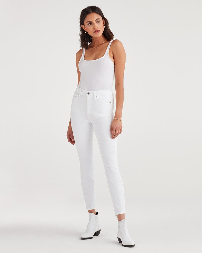 New Fun White Denim Styles for Summer from 7 For All Mankind - Aubrey Super High Waist Skinny