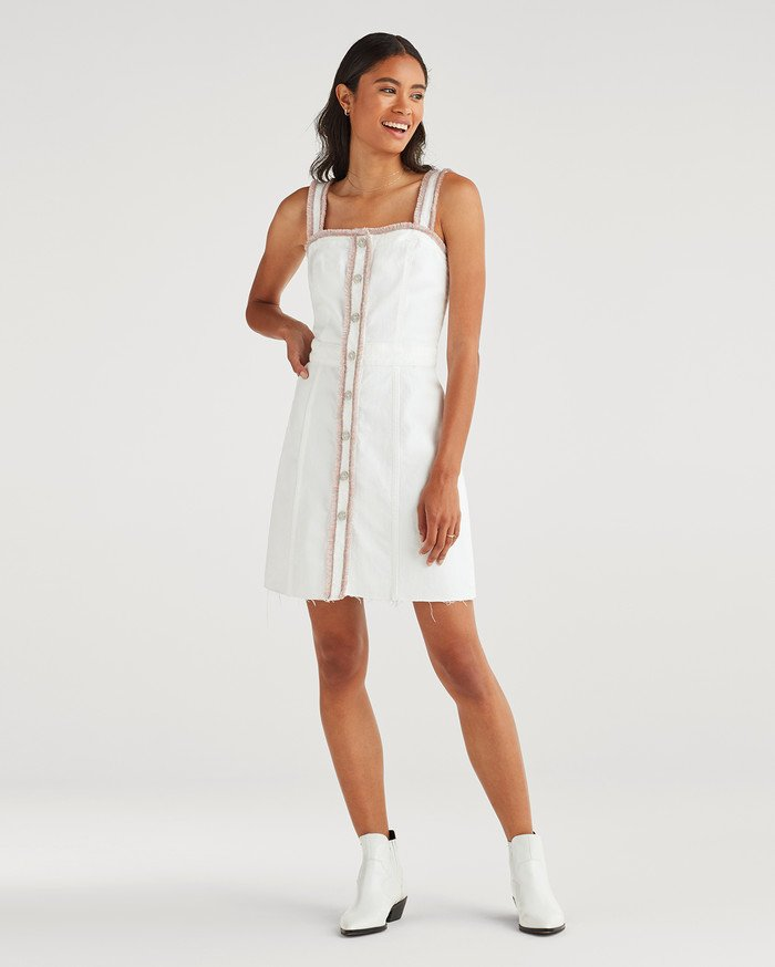 New Fun White Denim Styles for Summer from 7 For All Mankind - Button Front Dress with Rainbow Fringe