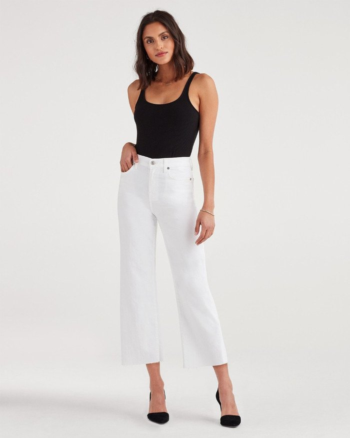 New Fun White Denim Styles for Summer from 7 For All Mankind - Cropped Alexa with Raw Hem