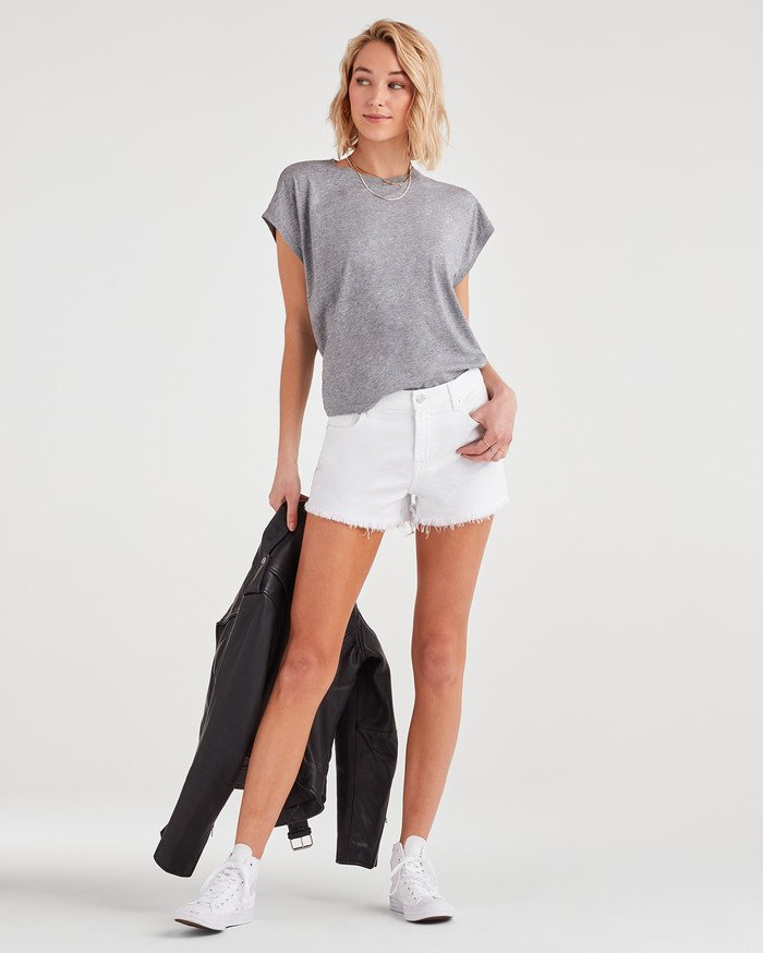 New Fun White Denim Styles for Summer from 7 For All Mankind - Cutoff Short