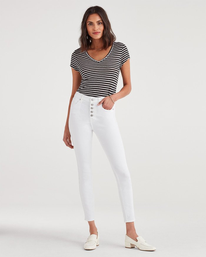 New Fun White Denim Styles for Summer from 7 For All Mankind - High Waist Skinny with Exposed Button Fly