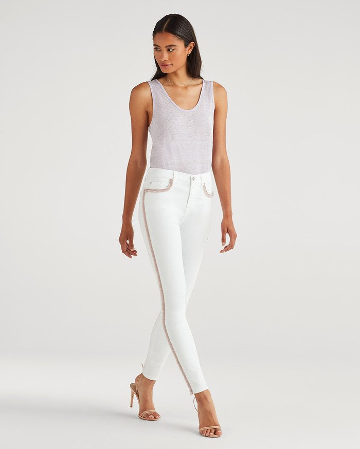 New Fun White Denim Styles for Summer from 7 For All Mankind - High Waist Skinny with Rainbow Fringe
