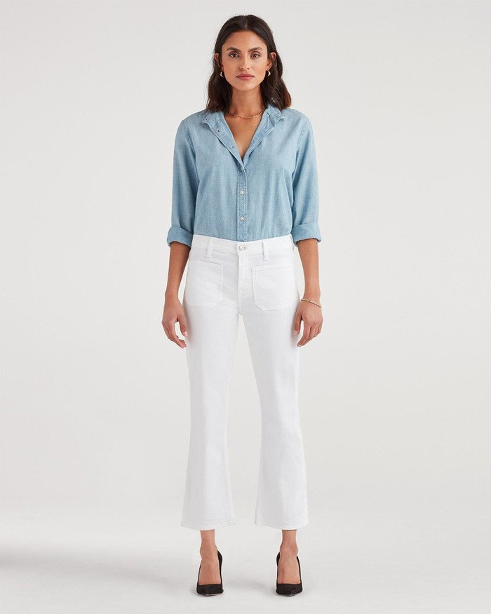 New Fun White Denim Styles for Summer from 7 For All Mankind - High Waist Slim Kick