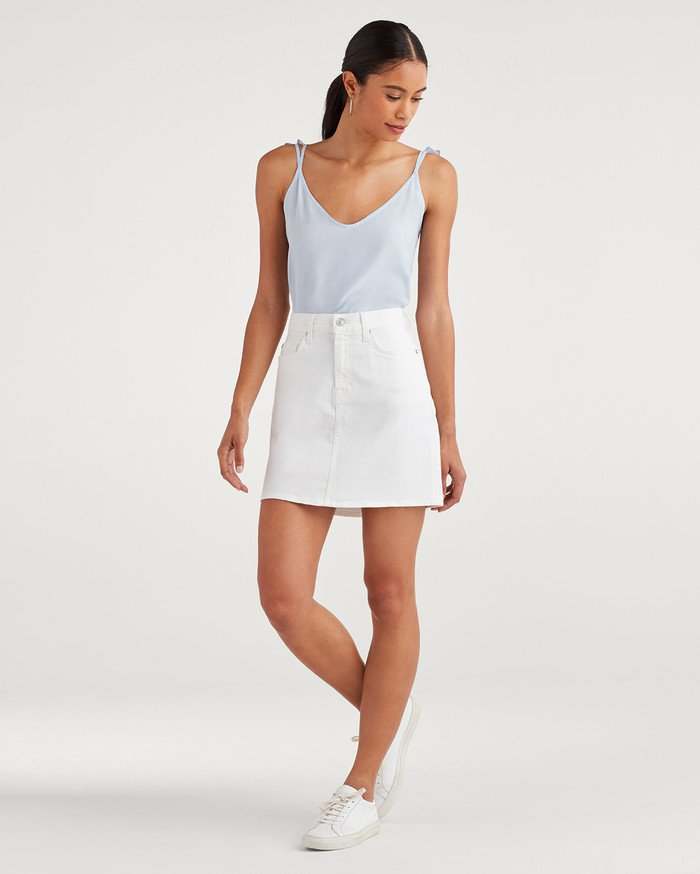 New Fun White Denim Styles for Summer from 7 For All Mankind - Mini Skirt