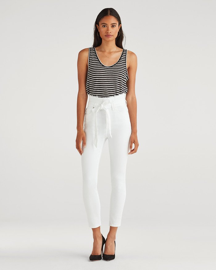 New Fun White Denim Styles for Summer from 7 For All Mankind - Paper Bag Skinny