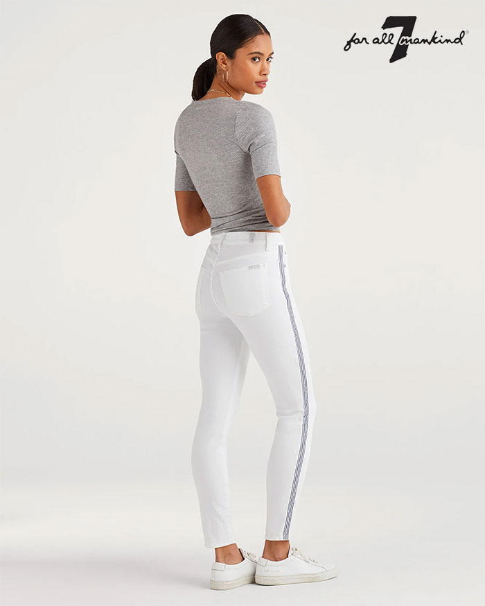 New Fun White Denim Styles for Summer from 7 For All Mankind - High Waist Ankle Skinny with Blue and White Stripe