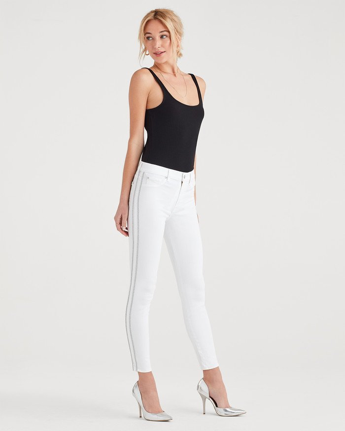 New Fun White Denim Styles for Summer from 7 For All Mankind - High Waist Ankle Skinny with Double Silver Lurex Stripes
