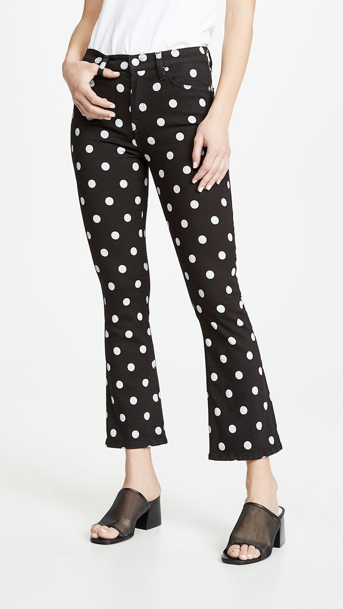 7 For All Mankind High Waist Slim Kick Jeans in Black/White Polka Dots