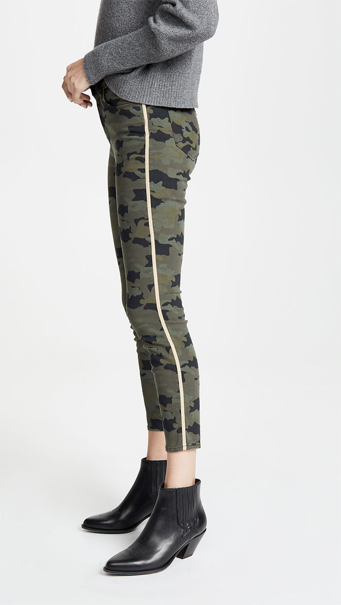 L'AGENCE Margot High Rise Skinny with Metallic Trim in Camo Stone