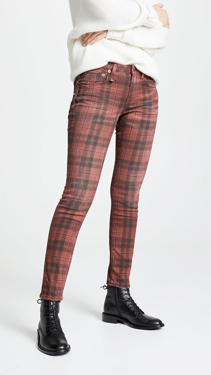 R13 Kate Skinny in Red Plaid