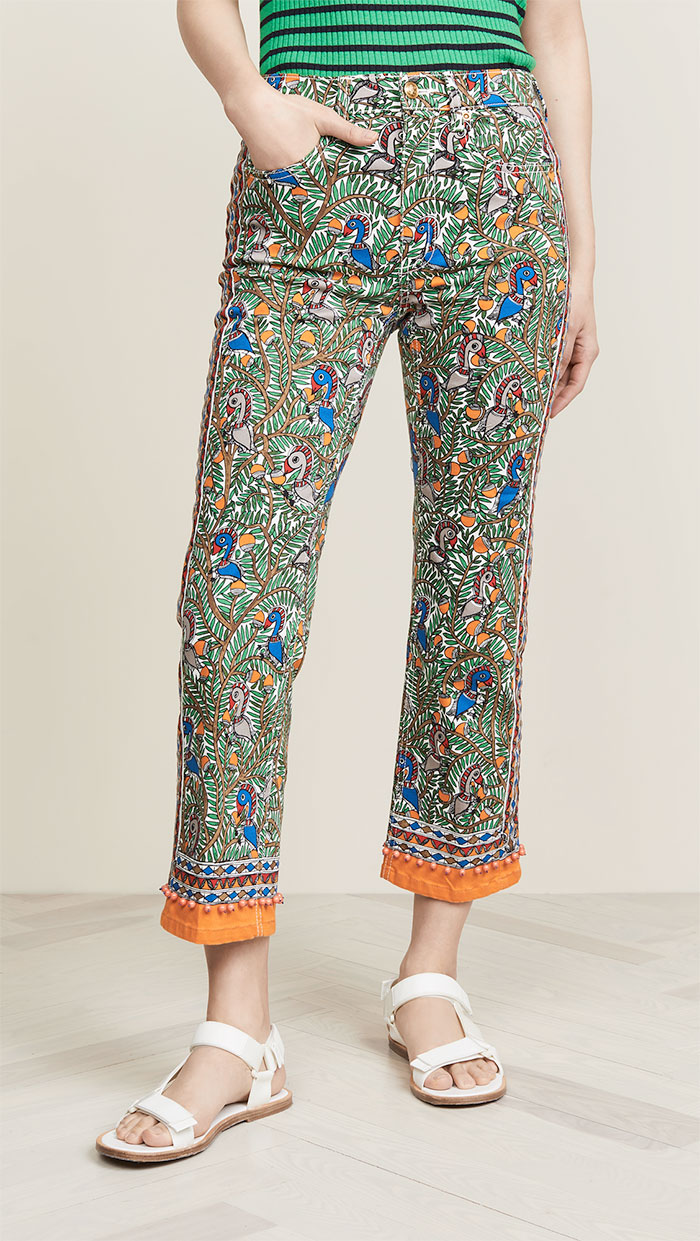 Tory Burch Printed Denim Pants in Orange Something Wild