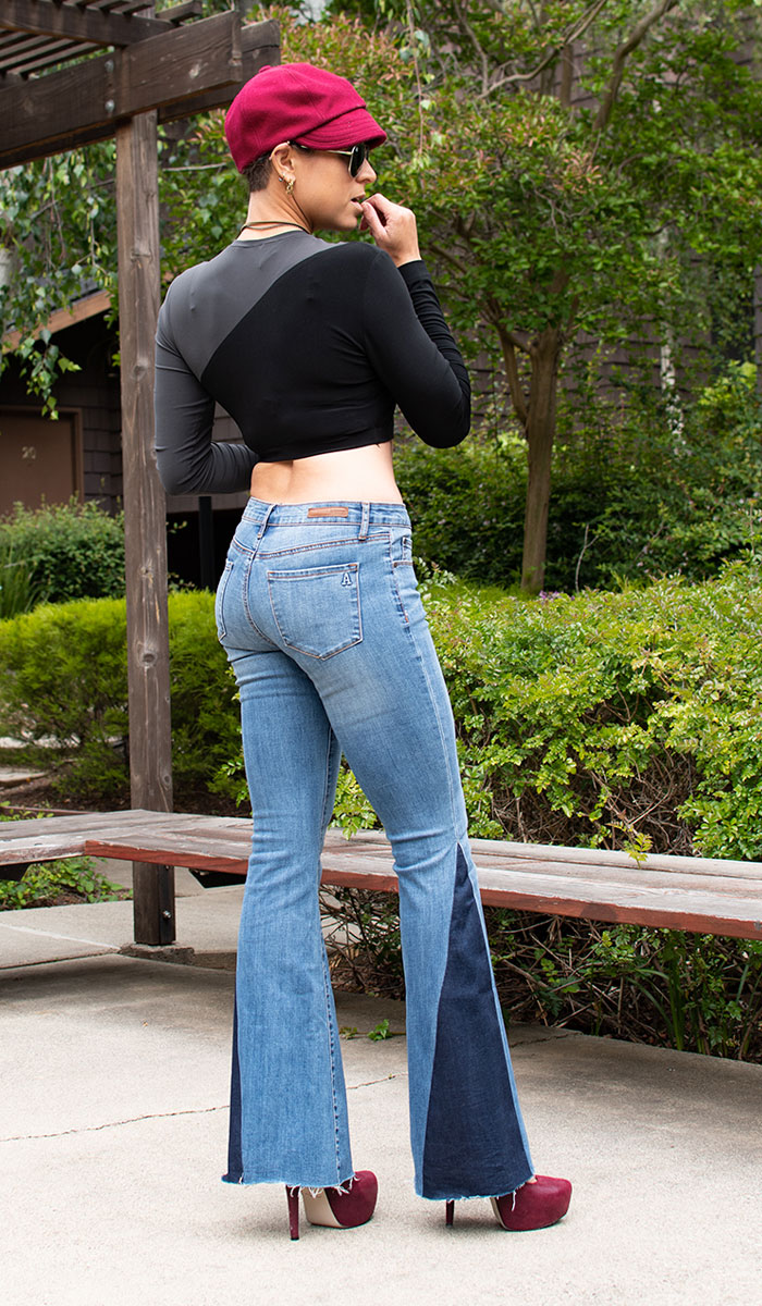 Me wearing Articles of Society Flare Jeans, KAMALIKULTURE top and Red ASOS Heels - Back Angle View