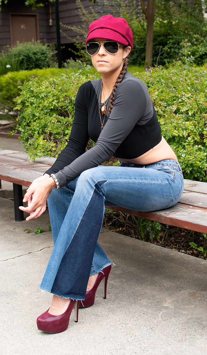 Me wearing Articles of Society Flare Jeans, KAMALIKULTURE top and Red ASOS Heels - Sitting Down and Leaning Forward