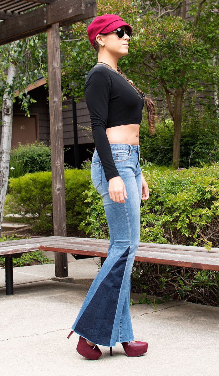 Me wearing Articles of Society Flare Jeans, KAMALIKULTURE top and Red ASOS Heels - Side View