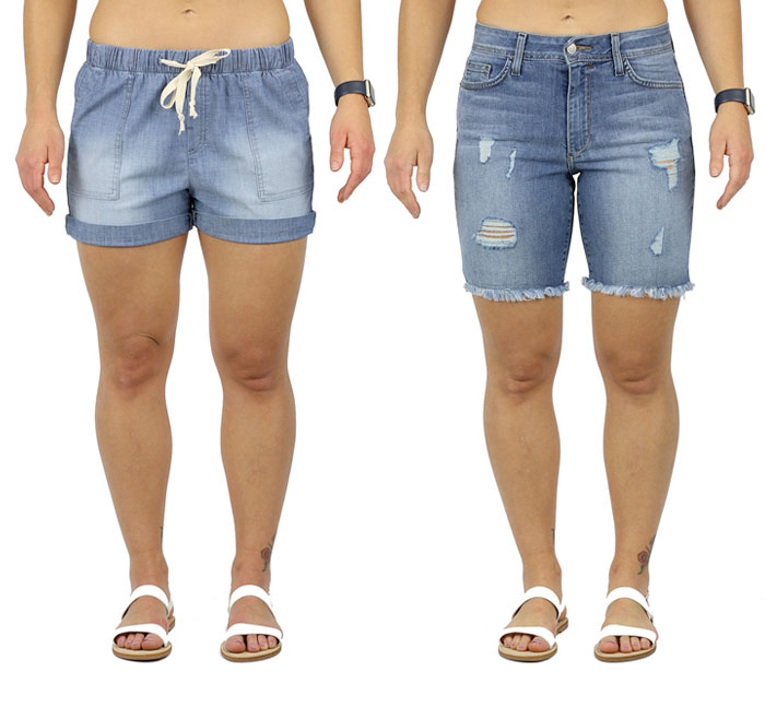 Fran Denim Chloe and Hannah Shorts for muscular women
