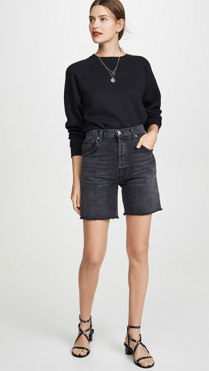 Rio Sweatshirt and Allie Denim Shorts by Reformation