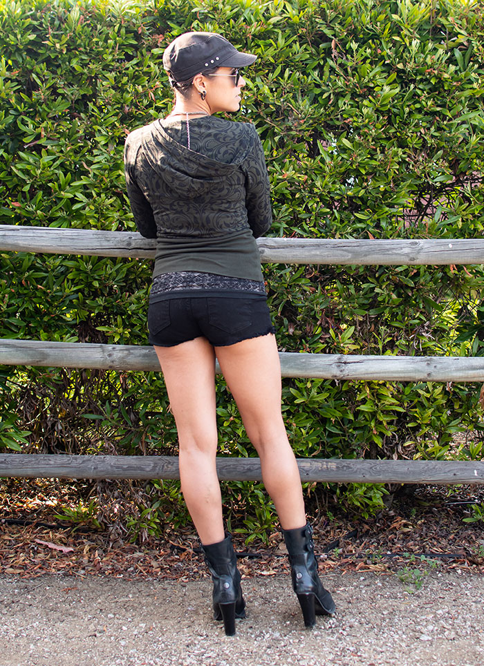 Wearing Fran Denim's Ivy Shorts in Black with Hoodie - Back View
