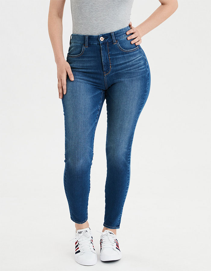 More Inclusive Jean Sizes from American Eagle Outfitters Dream Jean Curvy High Waist Jegging in Bright Ultramarine