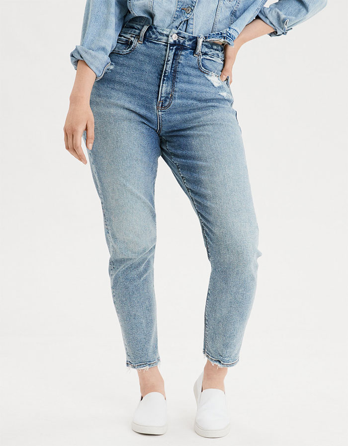More Inclusive Jean Sizes from American Eagle Outfitters Stretchy Curvy Mom Jean in Cool Classic